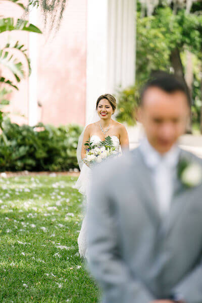Tampa wedding planner- Special Moments Event Planning – Tampa Garden Club wedding - first look