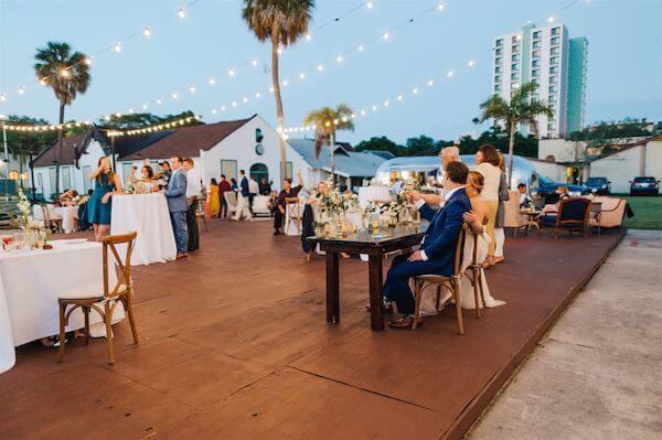 St Pete wedding – St Petersburg wedding planner – St Petersburg shuffleboard club wedding - nighttime reception