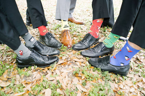 Tampa wedding planner- Special Moments Event Planning – Tampa Garden Club wedding- groomsmen with fun socks