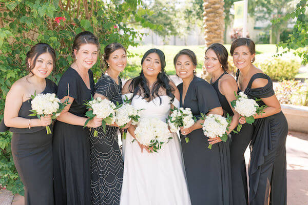 bride - bride in a Stella York gown - bride with wedding party - bridesmaids in black dresses - white bouquets - St Petersburg wedding - St Petersburg wedding planner