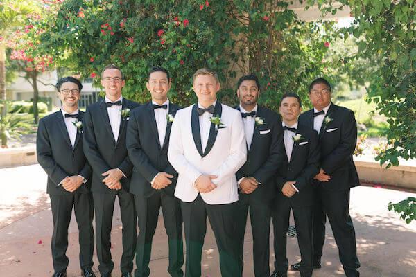 groom - groom in white tuxedo jacket - groom with groomsmen- St Petersburg wedding - St Petersburg wedding planner