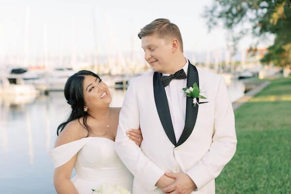 bride and groom - Stella York - Groom in white tuxedo jacket - St Petersburg wedding - St Petersburg wedding planner