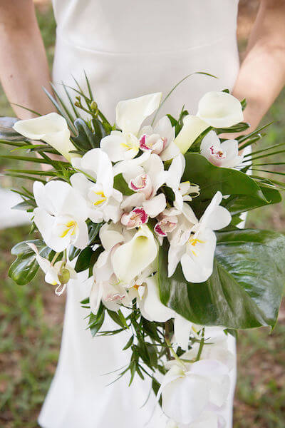 Fenway Hotel wedding - tropical bridal bouquet - orchid bouquet - modern orchid bouquet