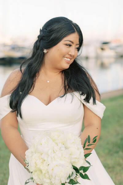 bride - bride with white bouquet - Stella York wedding gown
