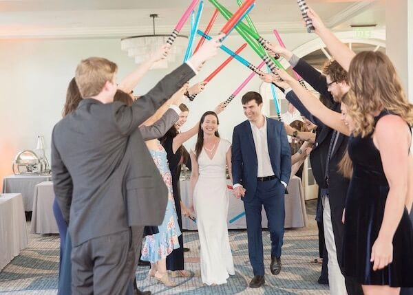 bride and groom enter under crossed light sabers- Imperial March - Starwars Soundtrack