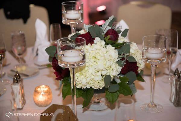 Special Moments Event Planning - Sandpearl Resort - Clearwater Beach Wedding - red and white centerpieces with floating candles