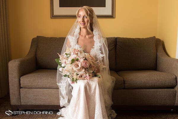 Special Moments Event Planning – Clearwater Beach wedding planner- Sandpearl wedding – Clearwater Beach wedding - bride with mantilla- bride with blush and pink bouquet