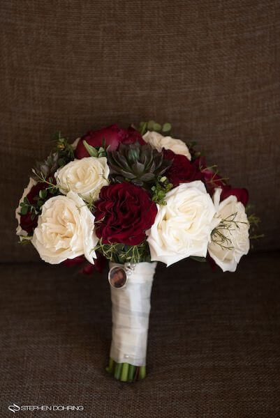 Special Moments Event Planning - Sandpearl Resort - Clearwater Beach Wedding - red and white bouquet - bridal bouquet with photo locket