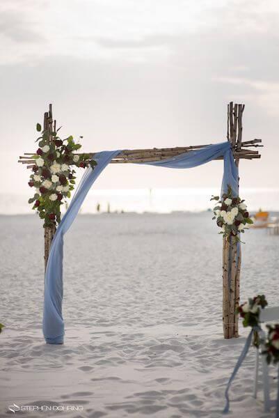 Special Moments Event Planning - Sandpearl Resort - Clearwater Beach Wedding - birchwood wedding arch - beach wedding