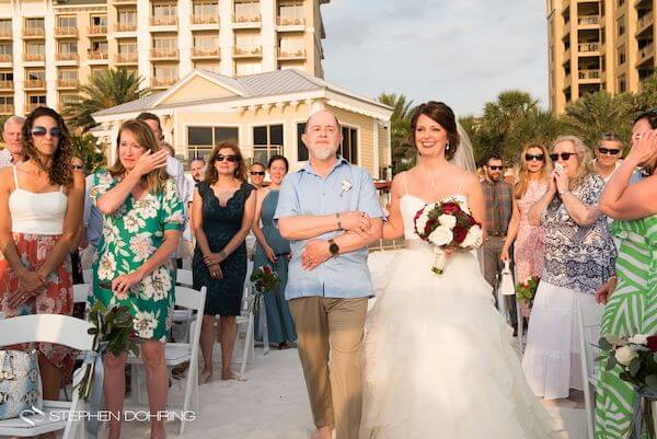 Special Moments Event Planning - Sandpearl Resort - Clearwater Beach Wedding - bride with father walking down the aisle