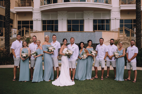 Special Moments Event Planning – Clearwater Beach Wedding – Clearwater Beach Wedding Planner- Clearwater Beach Destination Wedding- bride - groom - bride and groom - bride and groom with wedding party - groomsmen is shorts - sea foam bridesmaids dresses