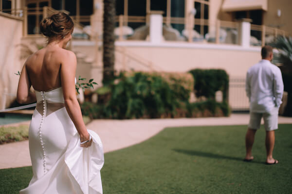 Special Moments Event Planning – Clearwater Beach Wedding – Clearwater Beach Wedding Planner- Clearwater Beach Destination Wedding-first look - Matthew Christopher - Matthew Christopher wedding gown