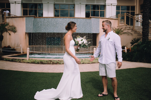 Special Moments Event Planning – Clearwater Beach Wedding – Clearwater Beach Wedding Planner- Clearwater Beach Destination Wedding- bride - groom - bride and groom - fist look - Matthew Christopher - Matthew Christopher wedding gown