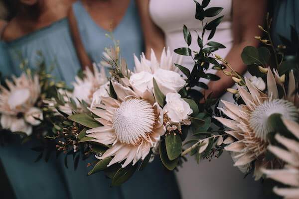 Special Moments Event Planning – Clearwater Beach Wedding – Clearwater Beach Wedding Planner- Clearwater Beach Destination Wedding- bouquet - bridal bouquet - white bouquet - white bridal bouquet - King Protea bridal bouquet