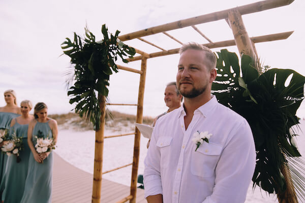 Special Moments Event Planning – Clearwater Beach Wedding – Clearwater Beach Wedding Planner- Clearwater Beach Destination Wedding- beach wedding ceremony - anxious groom - waiting for his bride