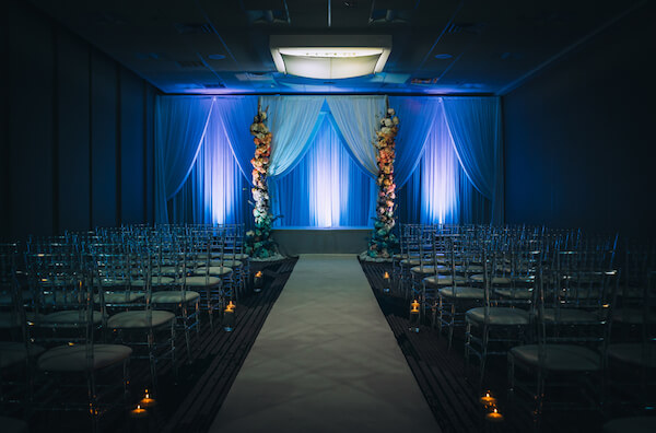 Special Moments Event Planning – Marry Me Tampa Bay – styled wedding shoot – romantic wedding – Hotel Alba – Tampa Wedding – Tampa Wedding planner – dramatic ballroom - dramatic lighting for wedding - dark blue wedding decor - dark blue wedding lighting - dramatic wedding lighting