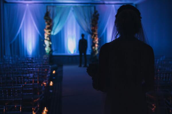 Special Moments Event Planning – Marry Me Tampa Bay – styled wedding shoot – romantic wedding – Hotel Alba – Tampa Wedding – Tampa Wedding planner – dramatic ballroom - bride - groom - first look - dark romantic wedding decor - deep blue wedding decor - dramatic wedding lighting