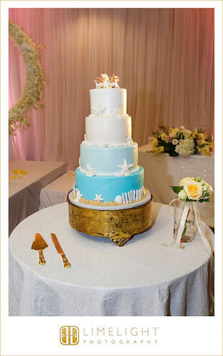 ombre wedding cake - beach themed wedding cake - gold cake stand - ocean blue wedding cake - wedding cake with sand dollars and sea shells