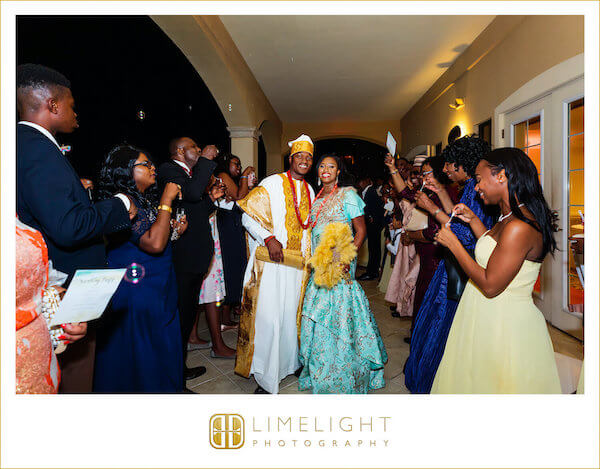 Clearwater Beach wedding - Nigerian wedding - Grand Exit. - bubbles for wedding. - Bride and Groom in Nigerian wedding clothes