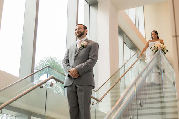Clearwater Beach wedding - Clearwater Beach - Wyndham Grand Clearwater Beach - Wyndham Grand Clearwater Beach wedding - Wyndham Grand weddings - Clearwater Beach Jewish wedding - blush wedding - groom waiting for bride - first look