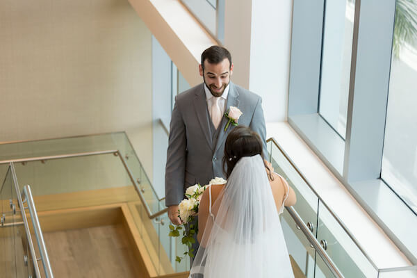 Clearwater Beach wedding - Clearwater Beach - Wyndham Grand Clearwater Beach - Wyndham Grand Clearwater Beach wedding - Wyndham Grand weddings - Clearwater Beach Jewish wedding - blush wedding - first look- bride and groom on stairs