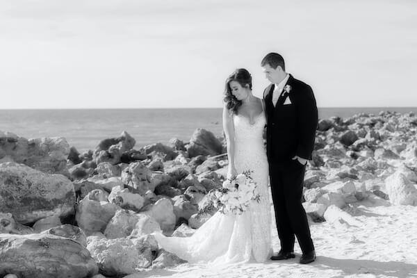 Clearwater Beach Wedding – Opal Sands Wedding – Special Moments Event Planning- bride and groom on beach
