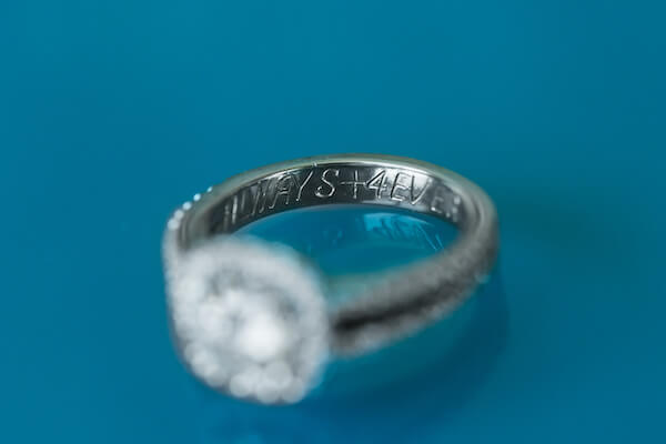 Clearwater Beach Wedding – Opal Sands Wedding – Special Moments Event Planning - engagement ring - engagement ring with inscription- Always + 4Ever