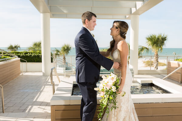 Clearwater Beach Wedding – Opal Sands Wedding – Special Moments Event Planning - bride and groom - first look -