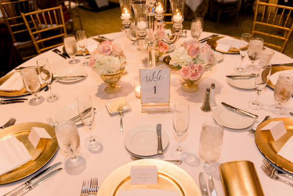 Ritz Carlton Sarasota wedding reception - gold charger plates - gold chivari chairs - pink and white centerpieces- Ritz Carlton - Ritz Carlton wedding - Ritz Carlton Sarasota - Ritz Carlton Sarasota wedding - Sarasota wedding - Sarasota black tie wedding