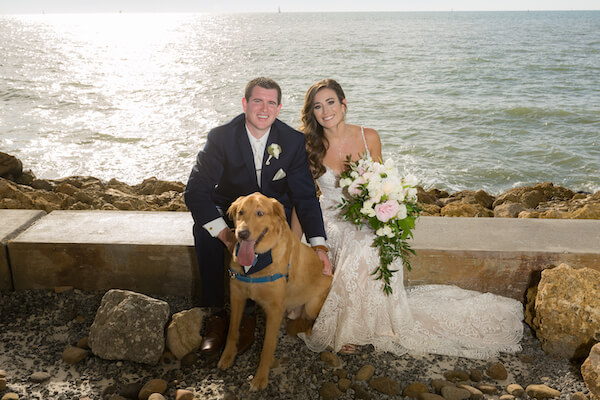 Clearwater Beach Wedding – Opal Sands Wedding – Special Moments Event Planning - bride and groom with dog - including your dog in your wedding -