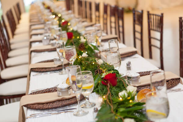Special Moments Event Planning – Tampa Wedding – Tampa Wedding Planner - Tampa Garden Club - Tampa Garden Club wedding - holiday weddings- long reception tables - rattan charger plates