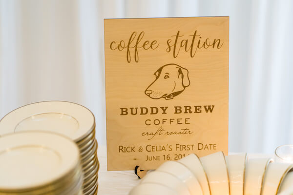 Special Moments Event Planning – Tampa Wedding – Tampa Wedding Planner - Tampa Garden Club - Tampa Garden Club wedding - coffee bar - Buddy Brew - Buddy Brew Coffee - first date - special touches for your wedding