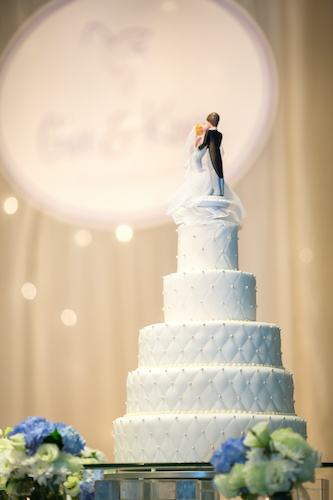 five tiered white wedding cake - when to cut your wedding cake - wedding planning tips - wedding planning advice - special moments event planning - Tammy Waterman - Master Wedding Planner
