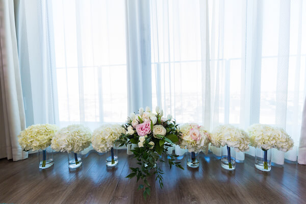 Clearwater Beach Wedding – Opal Sands Wedding – Special Moments Event Planning - wedding bouquets - white hydrangea wedding bouquets- bridal bouquet with roses and tulips - pink and white bridal bouquet
