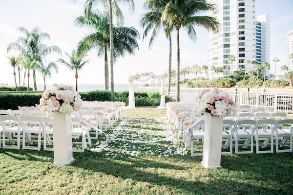 Outdoor wedding ceremony - pink and white wedding ceremony decor- Ritz Carlton - Ritz Carlton wedding - Ritz Carlton Sarasota - Ritz Carlton Sarasota wedding - Sarasota wedding - Sarasota black tie wedding