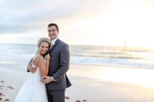 Sandpearl Resort – Sandpearl Wedding – Clearwater Beach Wedding - Greek Wedding - Bride and groom on beach - Bride and Groom on Clearwater Beach - Special Moments Event Planning