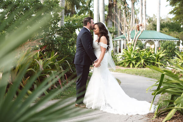First Look – Bradenton wedding – Palma Sola Botanical Park wedding – Special Moments Event Planning - bride and groom - bride and groom embracing - bride and groom embracing after first look
