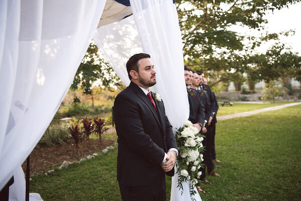 First Look – Bradenton wedding – Palma Sola Botanical Park wedding – Special Moments Event Planning - groom waiting for bride -