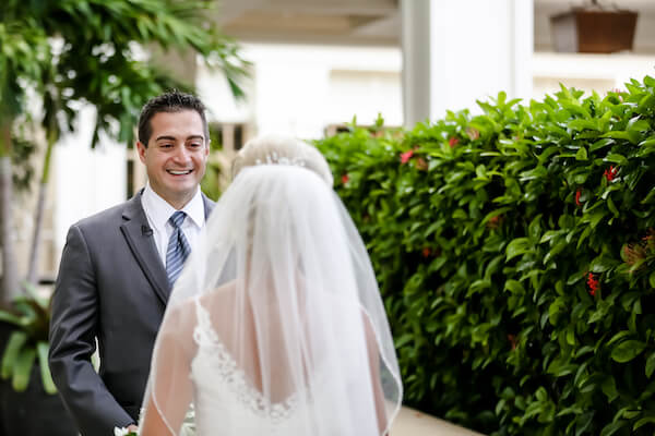 Sandpearl Resort – Sandpearl Wedding – Clearwater Beach Wedding – Greek wedding – Clearwater Beach wedding planner – Special Moments Event Planning - bride and groom - first look