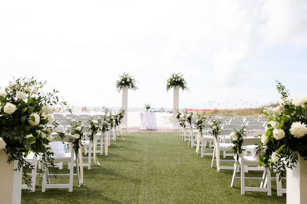 Sandpearl Resort – Sandpearl Wedding – Clearwater Beach Wedding – Greek wedding – Clearwater Beach wedding planner – Special Moments Event Planning - beach wedding. - outdoor wedding ceremony at the Sandpearl resort - white wedding decor