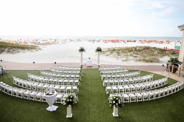 Sandpearl Resort – Sandpearl Wedding – Clearwater Beach Wedding – Greek wedding – Clearwater Beach wedding planner – Special Moments Event Planning - beachside wedding ceremony at the Sandpearl resort - white wedding decor
