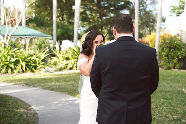 First Look – Bradenton wedding – Palma Sola Botanical Park wedding – Special Moments Event Planning - bride crying after first look - bride and groom