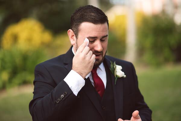 First Look – Bradenton wedding – Palma Sola Botanical Park wedding – Special Moments Event Planning - groom crying - groom crying after first look