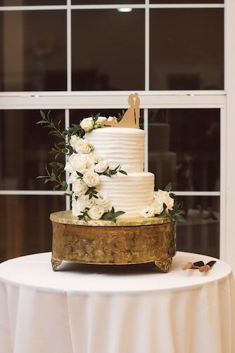 Bradenton wedding – Palma Sola Botanical Park wedding - Special Moments Event Planning - wedding cake - wedding cake on gold stand - white wedding cake on gold stand - wedding cake with custom cake topper
