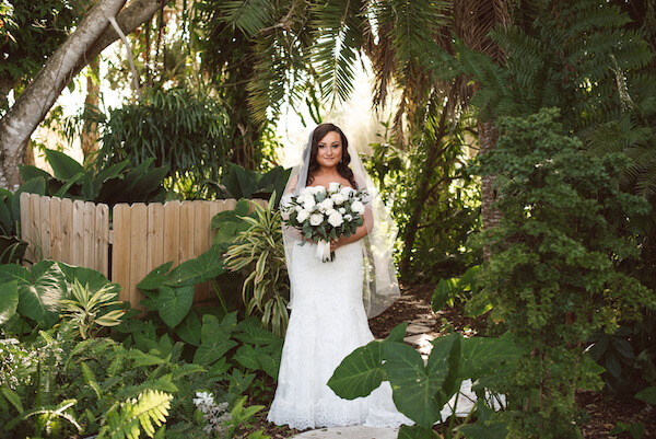 Bradenton wedding – Palma Sola Botanical Park wedding - Special moments Event Planning - bride - bride with white bouquet - bride in garden - bride in gardens with white bouquet