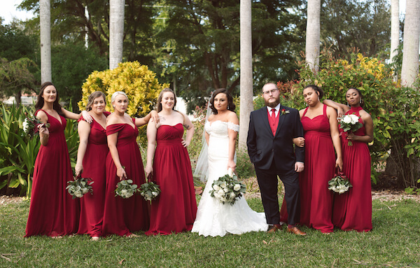 Bradenton wedding – Palma Sola Botanical Park wedding- Special Moments Event Planning - bride- wedding part - bride with wedding party - Man of Honor - honor attendants -