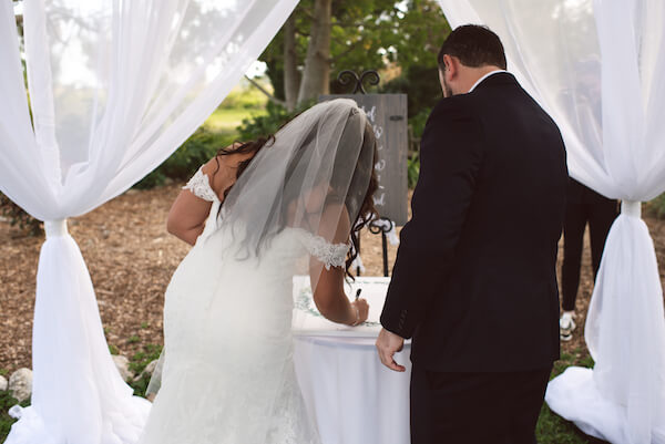 Bradenton wedding – Palma Sola Botanical Park wedding - Special Moments Event Planning - bride and groom - bride and groom signing ketubah - ketubah signing - Jewish wedding traditions