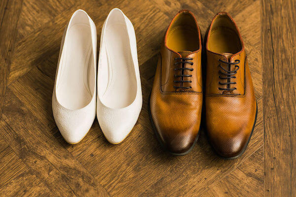 bride's shoes - groom's shoes - bride and grooms wedding shoes
