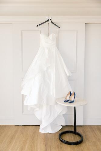 brides wedding gown - brides wedding gown and shoes - brides wedding gown and blue shoes - brides organza wedding gown- organza wedding gown with blue shoes- blue Manolo Blank shoes - Tampa wedding