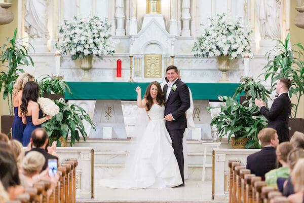 Tampa Wedding - Tampa bride and groom - Just Married - I DO - excited bride and groom - Sacred heart Catholic Church Tampa